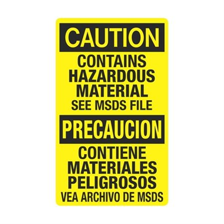Caution Contains Hazardous Material See MSDS / Bilingual