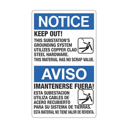 Notice Keep Out! (Bilingual) Sign - 12 x 20