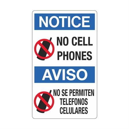 Notice No Cell Phones / Bilingual  Sign 12 x 20
