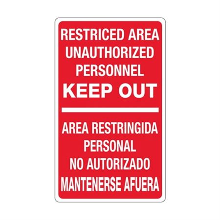 Restricted Area Unauthor …  Mantenerse Afuera Sign