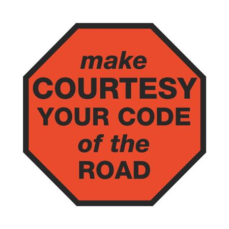 Dashboard Safety Decals - Make Courtesy Your Code of the Road 4 x 4