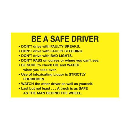 Dashboard Safety Decals - Be a Safe Driver 3 x 5