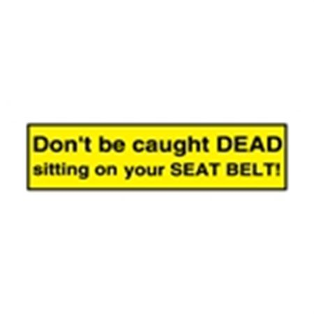 Seat Belt Decals - Don't Be Caught Dead Sitting On Your Seat Belt! 4 x 1