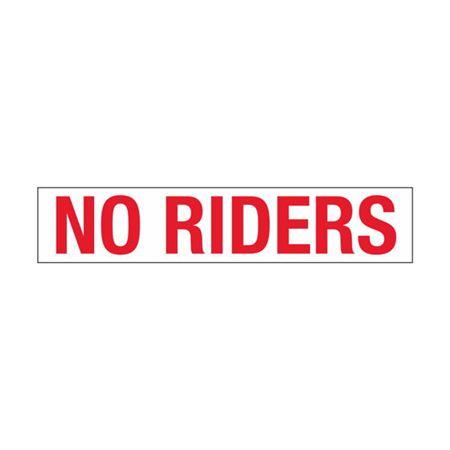 Dashboard Safety Decals - No Riders (inside windsheild) 1 x 5