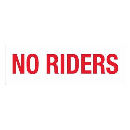 Dashboard Safety Decals - No Riders 4 x 12