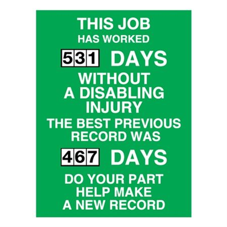 Job Has Worked w/Out Injury-Poly Dial Scoreboard - 23x34 in.