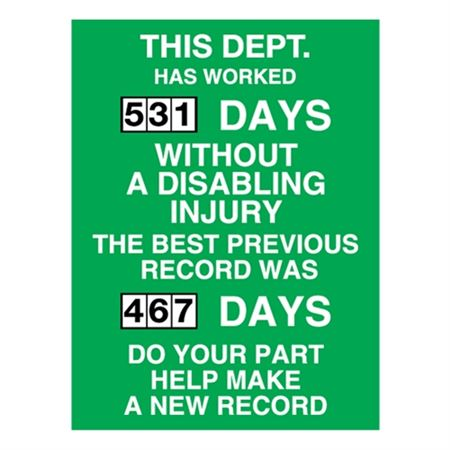 This Department Has Worked-Dial Poly Scoreboard - 23x34 in.