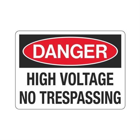 Danger High Voltage No Trespassing Sign