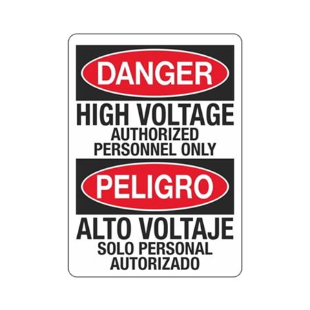 Danger High Voltage Authorized Personnel Only/Bilingual