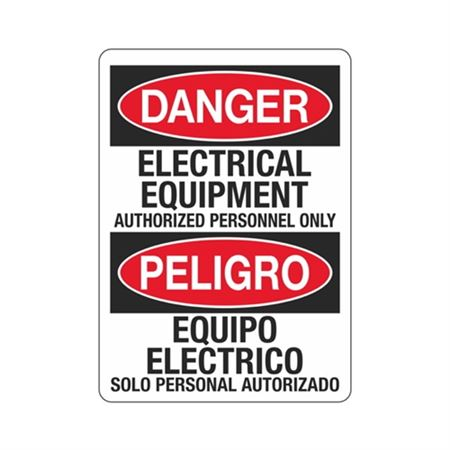 Danger Electrical Equipment Authorized Personnel/Bilingual