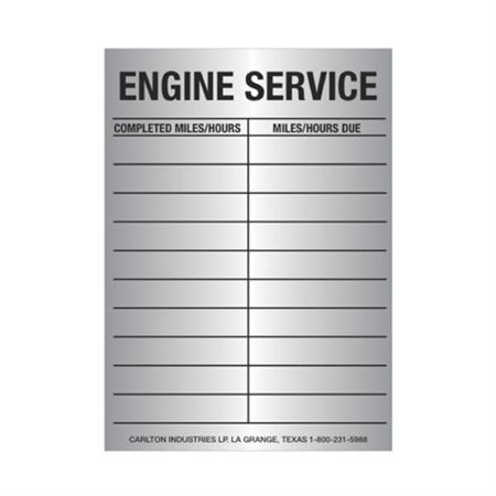 Engine Service Tag - Engine Service Tag 2 1/2 inches x 3 1/2inches