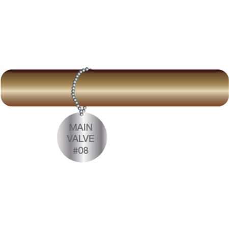 Engraved Valve Tags - Custom - Stainless Steel Circle 2 x 2