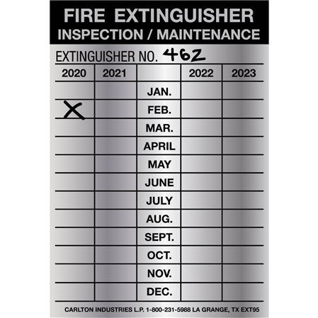 Fire Extinguisher Inspection Tags-Indentable Aluminum