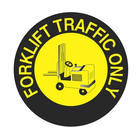 Anti-Slip Floor Decals - Forklift Traffic Only 18 inch diameter