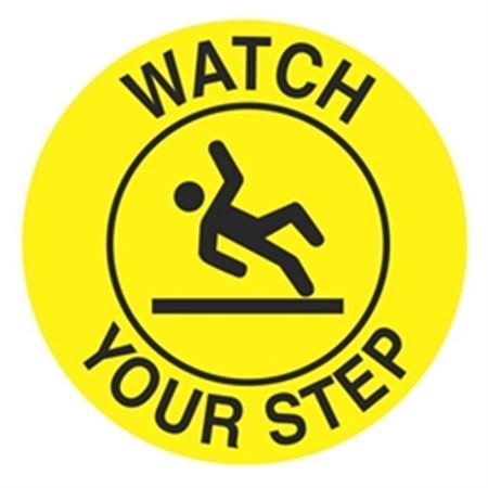 """Anti-Slip Floor Decals - Watch Your Step - 18"""" Diameter"""
