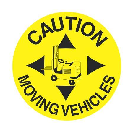 Anti-Slip Floor Decals - Caution Moving Vehicles 18 inch diameter