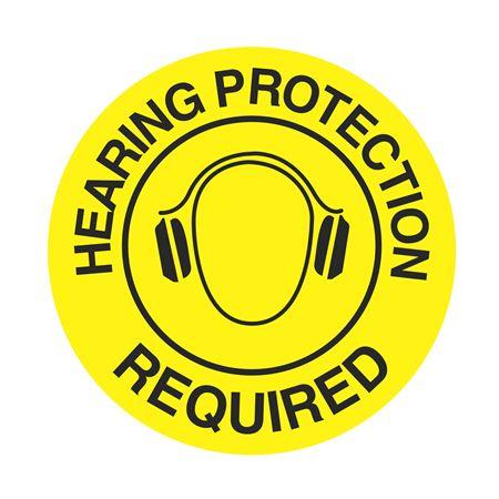 "Anti-Slip Floor Decals - Hearing Protection Req. - 18"" Dia."