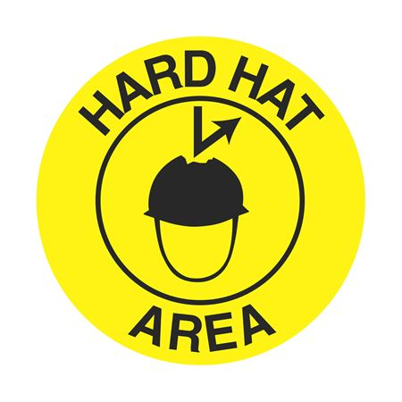 Anti-Slip Floor Decals - Hard Hat Area 18 inch diameter