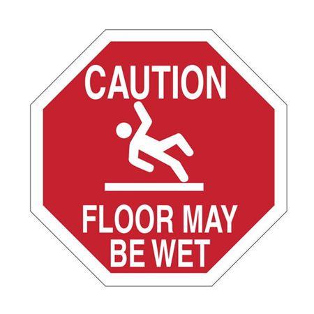 Anti-Slip Floor Decals - Caution Floor May Be Wet 18 inch diameter