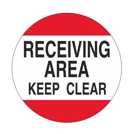 Anti-Slip Floor Decals - Receiving Area Keep Clear 18 inch diameter