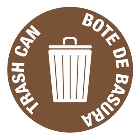 Anti-Slip Floor Decals - Trash Can Bote De Basura 18 inch diameter