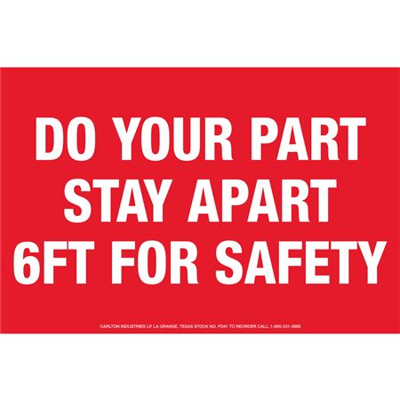 Floor Decals - Do Your Part Stay Apart 6ft For Safety 8 x 12