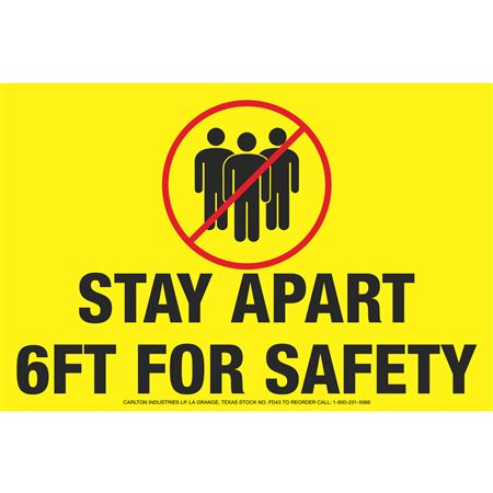 """Stay Apart 6ft for Safety - Floor Decals 8"""" x 12"""""""