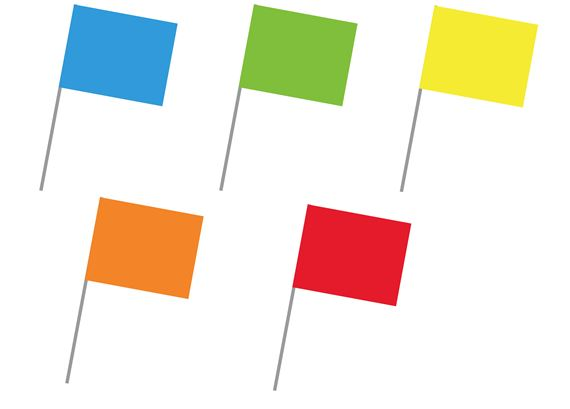 Fluorescent Color Coded Blank Stock Flags