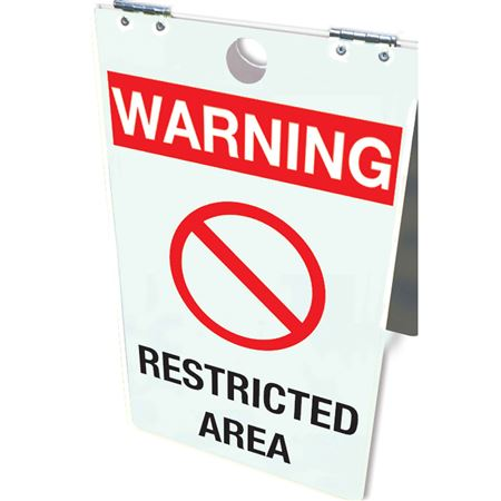 Warning Restricted Area Floor Stand 12x20