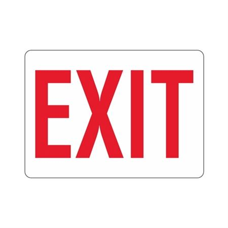 EXIT (Red Text on White) Sign