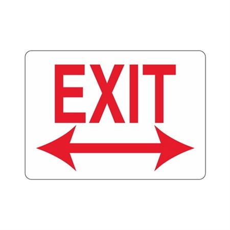 EXIT With Double Arrow (Red Text on White) Sign