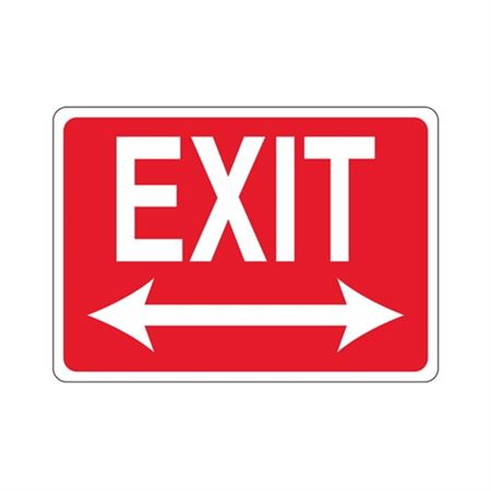 EXIT Double Arrow (White Text on Red) Sign