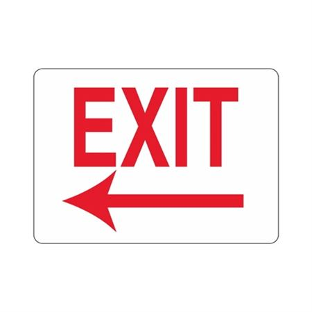 EXIT Left Arrow (Red Text on White) Sign