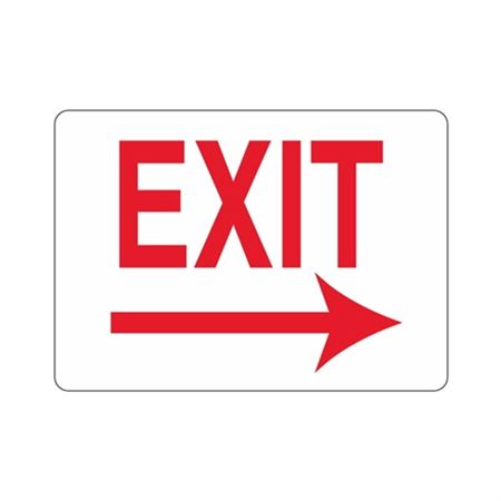EXIT Right Arrow(Red Text on White) Sign