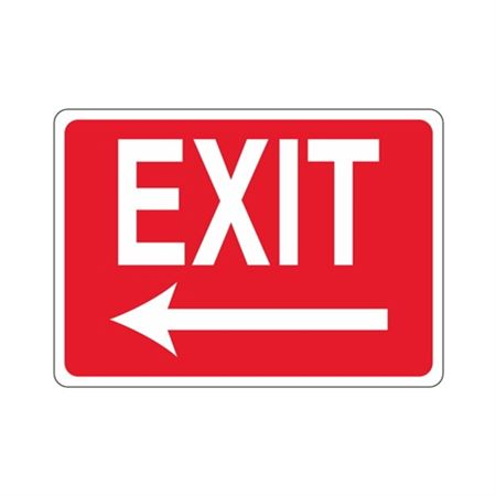 EXIT Left Arrow (White Text on Red) Sign