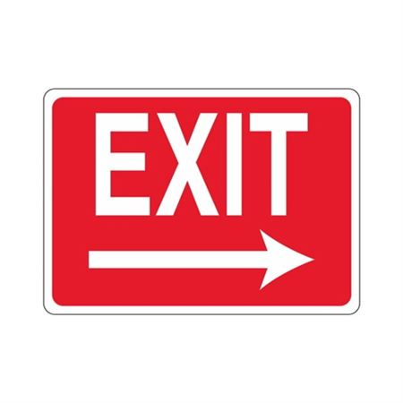EXIT Right Arrow (White Text on Red) Sign
