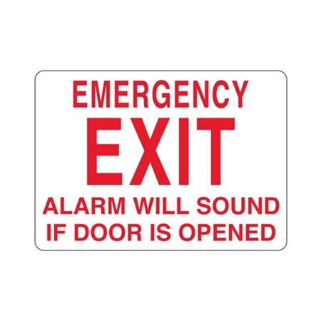 Emergency EXIT Alarm Will Sound If Door Opened Sign