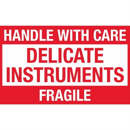 Handle With Care Delicate Instruments Fragile - Large 3 x 5