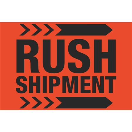 Fluorescent Shipping Labels - Rush Shipment 4 x 6