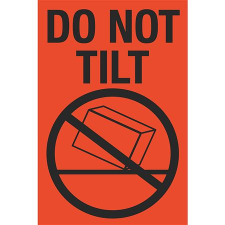 Fluorescent Shipping Labels - Do Not Tilt w/Graphic 4 x 6