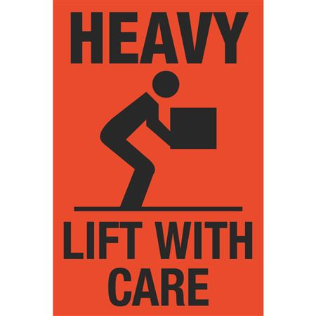 Fluorescent Shipping Labels - Heavy Lift With Care w/Graphic 4 x 6