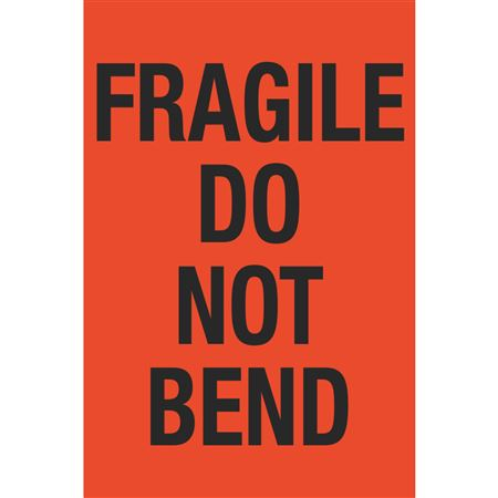Fluorescent Shipping Labels - Fragile Do Not Bend 4 x 6