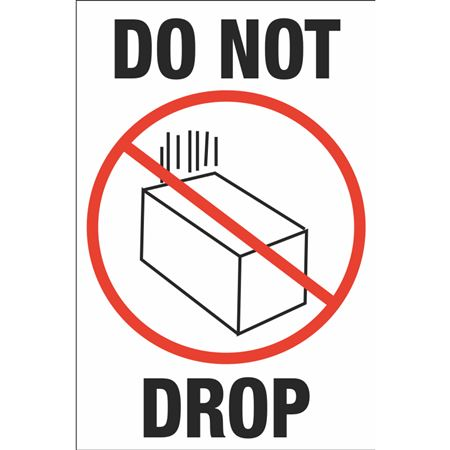 Fluorescent Shipping Labels - Do Not Drop w/Graphic 4 x 6