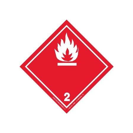 """GHS Class 2 Flammable Gas Label Transport Pictogram 4"""""""
