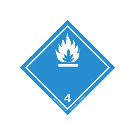 """GHS Class 4 (White Flame) Transport Pictogram 4"""""""