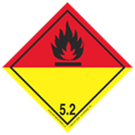 GHS Class 5 Red/Yellow Label Transport Pictogram 2 Inch