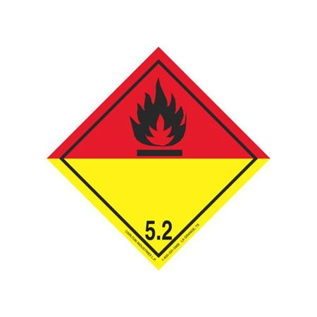 GHS Class 5 Red/Yellow Label Transport Pictogram 4 in