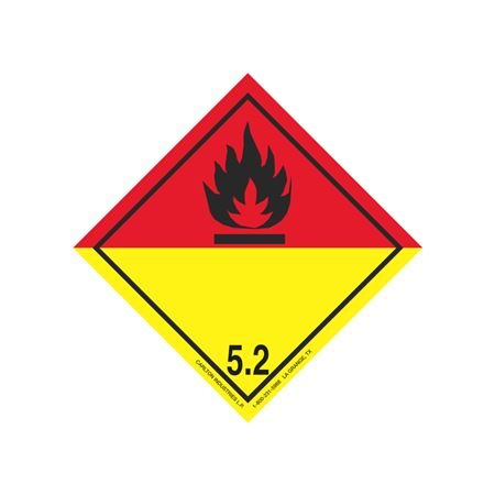 """GHS Class 5.2  Red/Yellow Label Transport Pictogram 4"""""""