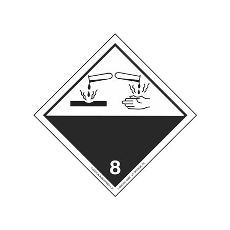 """GHS Class 8 Corrosive Material Label Transport Pictogram 2"""""""