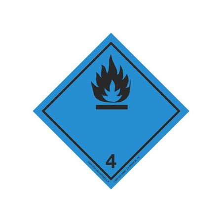 Class 4 (Black Flame) Transport Pictogram 4 In. Label RL/500